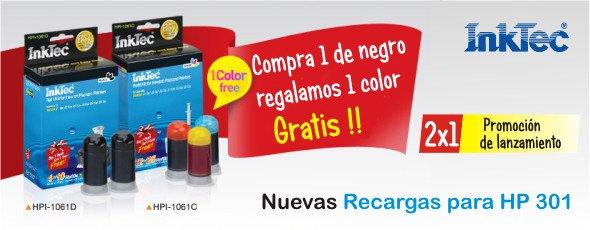 Promoción de lanzamiento de las nuevas recargas InkTec para cartuchos HP 301, 301XL