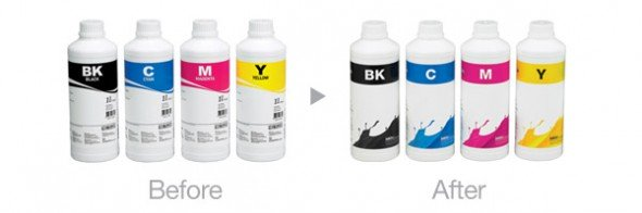 Cambio etiqueta Inktec LFP water based ink